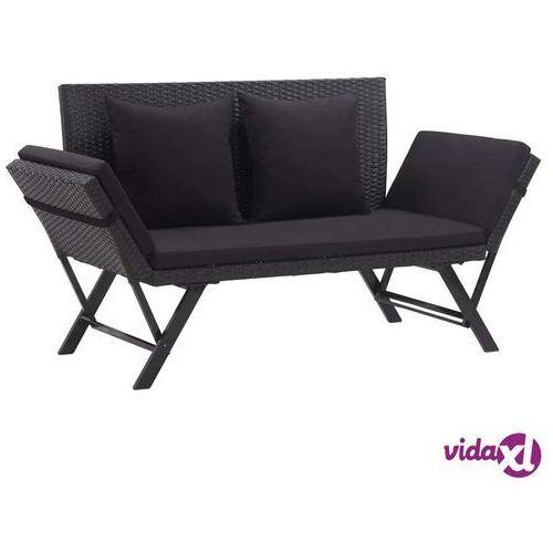 Vidaxl ławka ogrodowa z poduszkami, 176 cm, czarna, polirattan (8719883729329)