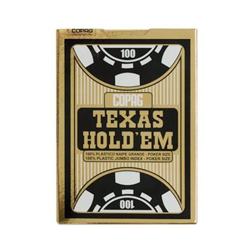 Talia Texas Hold'em 100% plastic jumbo index - czarna - Cartamundi (5411068400551)