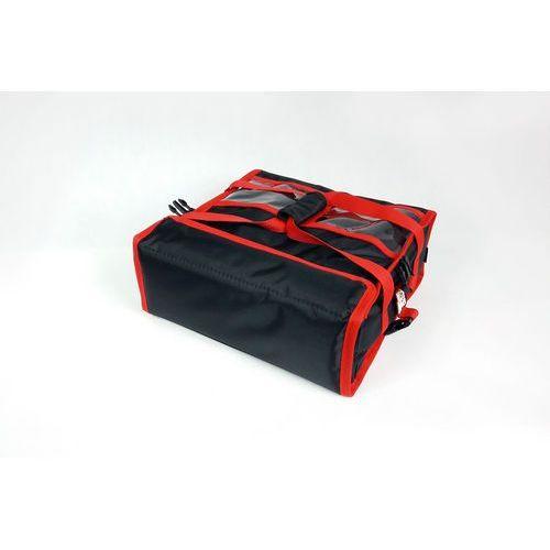 Podgrzewana torba wykonana z nylonu na 2 kartony do pizzy o wymiarach 450x450 mm, ze stelażem, czarna z czerwoną lamówką   , t2l pu marki Furmis