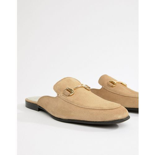 River island suede backless loafer in stone - stone