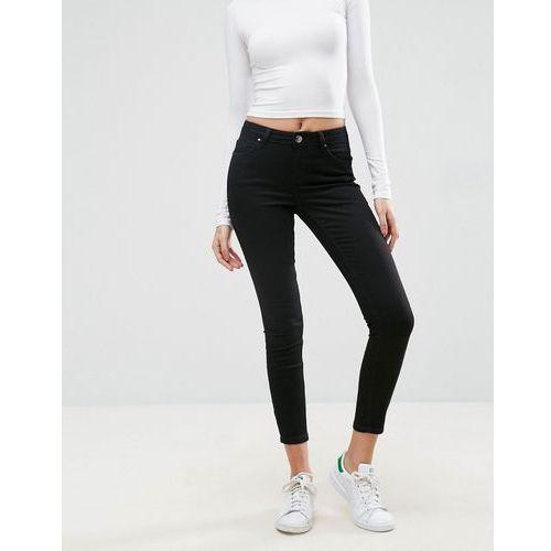 ASOS LISBON Skinny Mid Rise Jeans in Clean Black in Ankle Grazer Length - Black ()