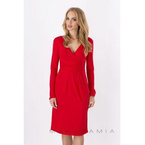 Czerwona Elegancka Sukienka Midi z Kopertowym Założeniem