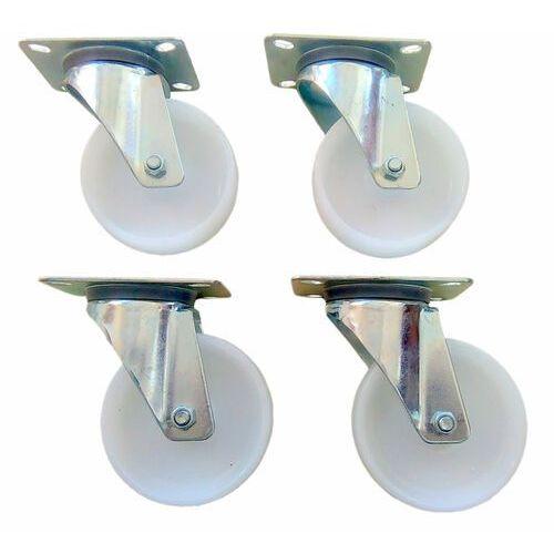 Komplet kół 4 szt. poliamidowe 125 mm. Bez hamulca koła obrotowe na płytkę.