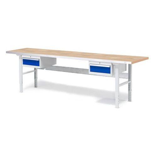 Stół warsztatowy Solid, zestaw z 2 szufladami, 500 kg, 2500x800 mm, dąb
