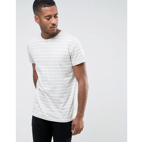 t-shirt in oversized fit with stripe organic cotton - blue marki Selected homme