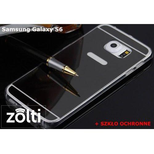 Zestaw   Slim Mirror Case Czarny + Szkło ochronne Perfect Glass   Etui dla Samsung Galaxy S6, kolor czarny