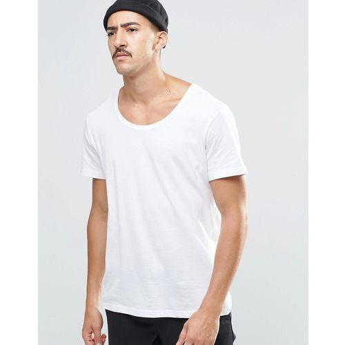 Weekday daniel scoop neck t-shirt in white - white