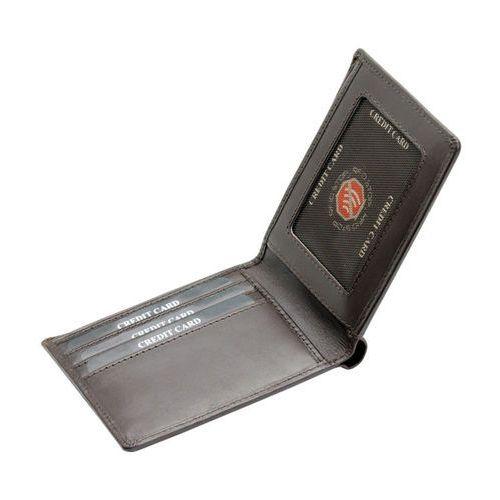 de4e09bce4759 ... Ultra Cienki Skórzany Portfel Slim Zabezpieczenie Kart RFID Czarny - Brąz  połysk ...