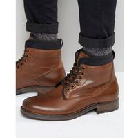 River Island Leather Lace Up Boots In Brown With Scuba Lining - Brown, kolor brązowy