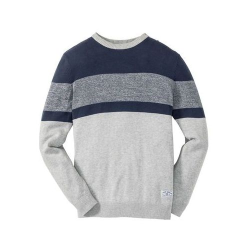 Sweter w paski Regular Fit bonprix jasnoszary melanż + ciemnoniebieski