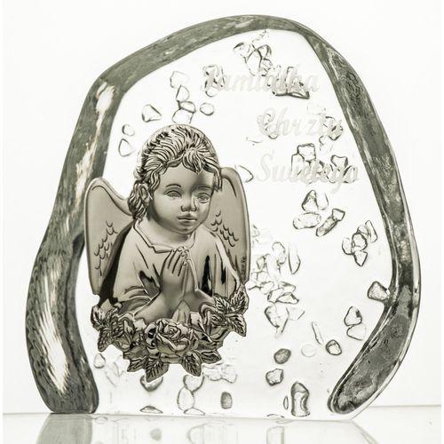 Skałka przycisk z Aniołkiem na Chrzest kryształ (3620)