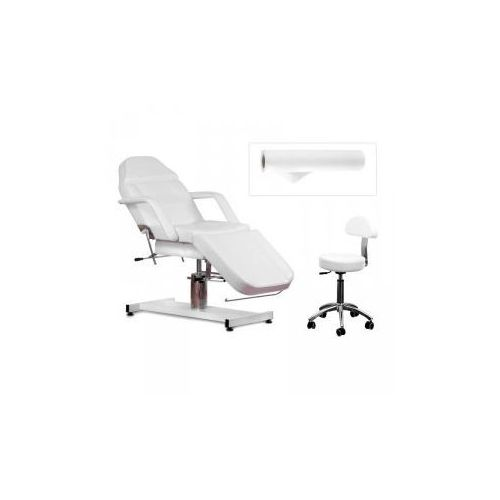 ZESTAW Fotel 210 + Taboret 304 Biały + Prześcieradło Fliselinowe, 10002_20436