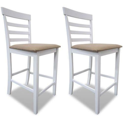 Krzesła do jadalni, 2 szt., drewniane, biało-beżowe, kolor beżowy