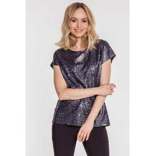 Granatowa bluzka z metalicznym nadrukiem - marki Studio mody pdb