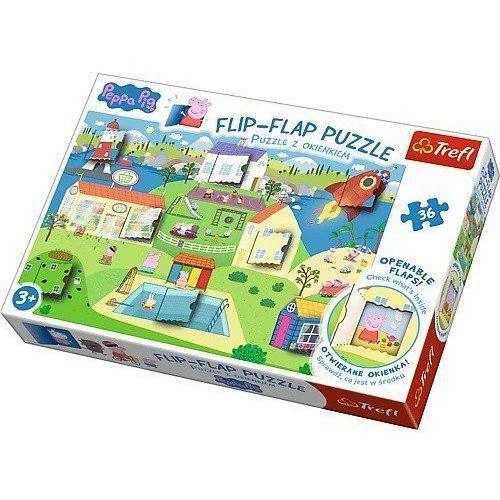 Trefl Flip-flap puzzle z okienkiem 36 świat świnki peppy