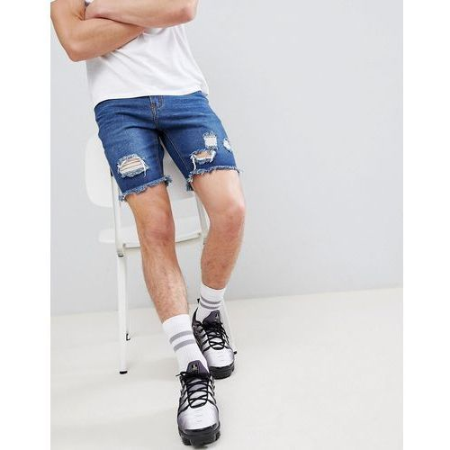 slim fit shorts with rips in dark blue wash - blue, Boohooman