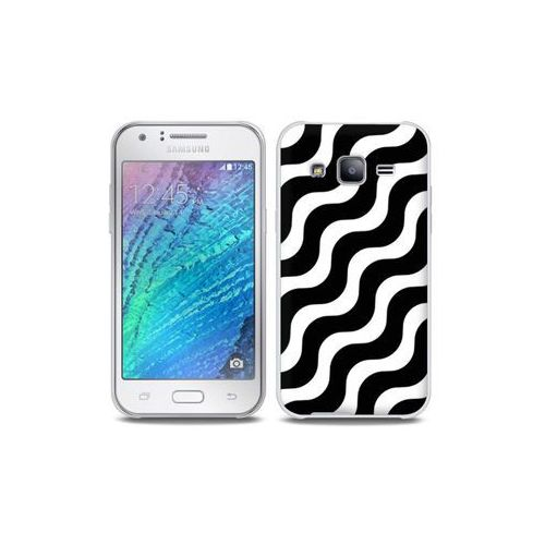 Samsung Galaxy J5 - etui na telefon Full Body Slim Fantastic - biało-czarna fala, ETSM210FBSFFC026000