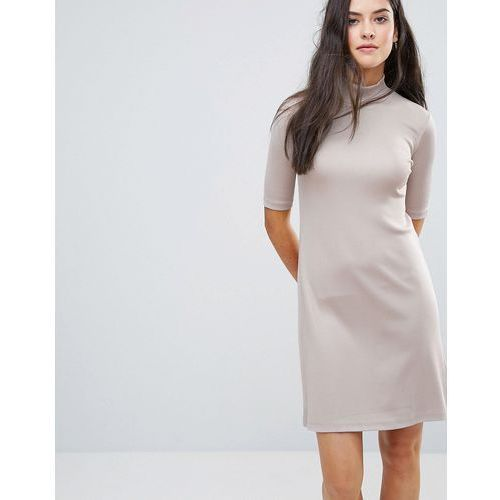 Y.A.S Sheila High Neck Glossy Dress - Pink, 1 rozmiar