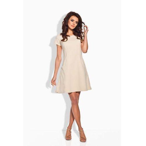 L142 beżowa sukienka, kolor beżowy