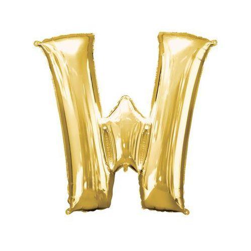 Balon foliowy złota litera W - 71 x 83 cm - 1 szt.