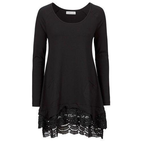 Bonprix Tunika shirtowa z koronką, długi rękaw czarny