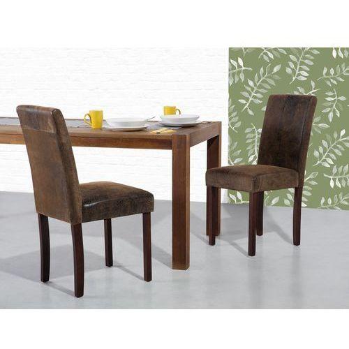 Beliani Krzesło brązowe-retro - do jadalni - kuchenne - tapicerowane - broadway (7081457284215)