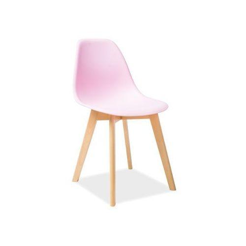 Krzesło Signal MORIS różowy/ buk - Styl skandynawski, Signal