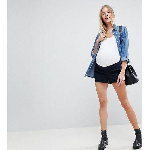 Asos design maternity chino shorts in navy with under the bump waistband - blue, Asos maternity