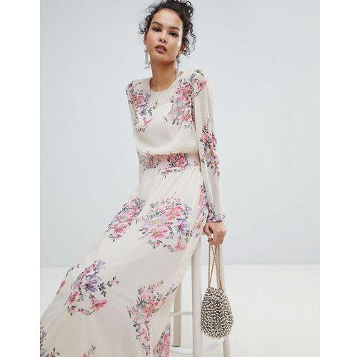 high neck floral mesh maxi dress - pink marki Miss selfridge