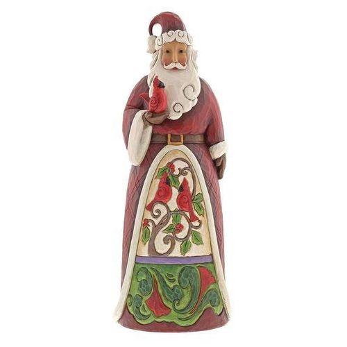 Jim shore Mikołaj i świateczne ptaszki 50 cm santa with cardinals (santa holding cardinal statue) 6001467 figurka ozdoba świąteczna