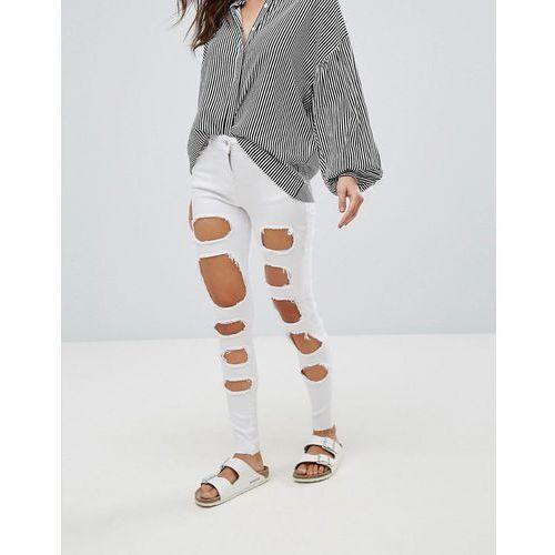 extreme rip skinny jeans - white marki Parisian