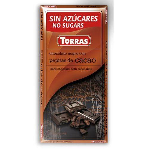 Czekolada gorzka z ziarnami kakao, bez cukru, bezglutenowa 75g marki Torras