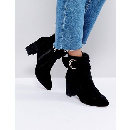 Glamorous Glamorus black velvet d-ring heeled ankle boots - black