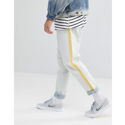 ASOS Recycled Double Pleat Jeans In Ecru With Side Stripe - White, kolor biały