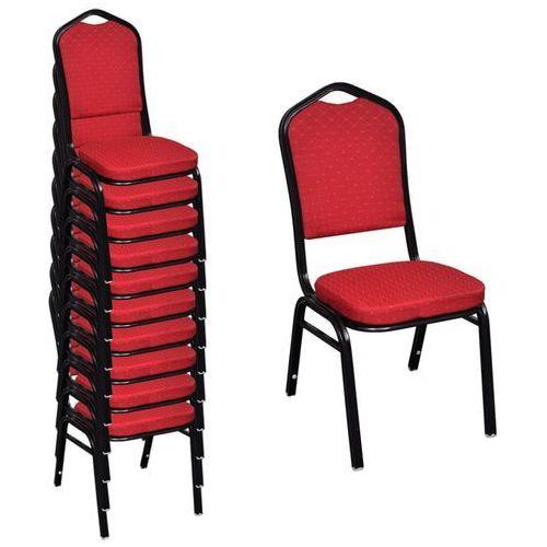 vidaXL Krzesła do jadalni, 10 szt., sztaplowane, materiałowe, czerwone (8718475900894)