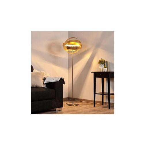 Lampenwelt Błyszcząca złota lampa stojąca led ze ściemniaczem