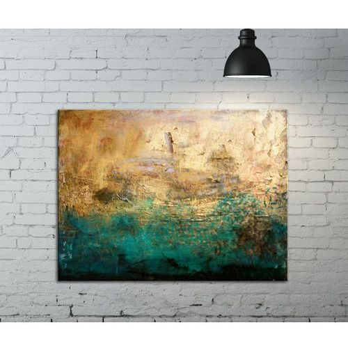 ręcznie malowane obrazy - złoty z turkusem
