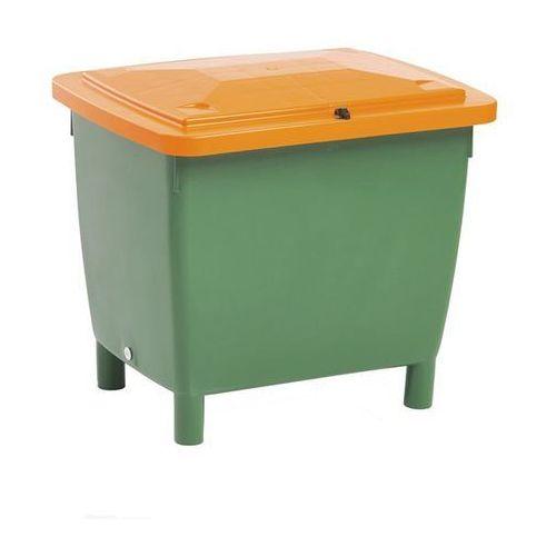 Pojemnik prostokątny, z pokrywą na zawiasach, poj. 210 l, pojemnik zielony, pokr