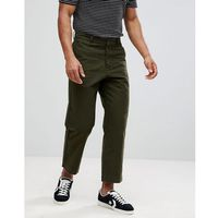 Celio Wide Leg Cropped Trousers In Khaki - Green