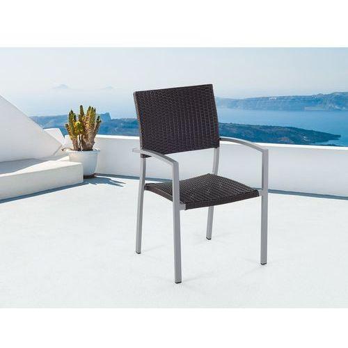Krzesło do ogrodu rattanowe ciemnobrązowe TORINO