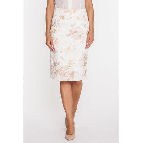 Ołówkowa spódnica w beżowe róże - Duet Woman, 1 rozmiar