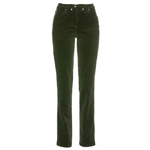 4c80e3f3ceed8b Spodnie sztruksowe ze stretchem bonprix nocny oliwkowy, kolor zielony