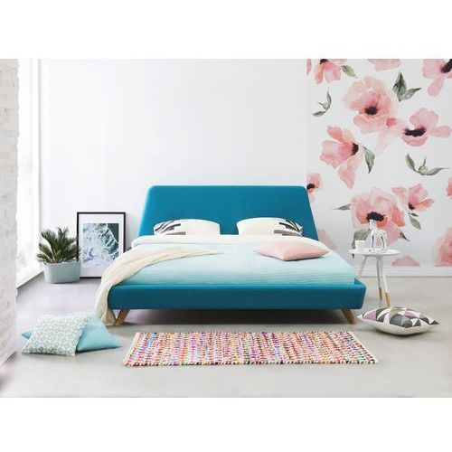 Łóżko błękitne - tapicerowane - ze stelażem - 180x200 cm - VIENNE