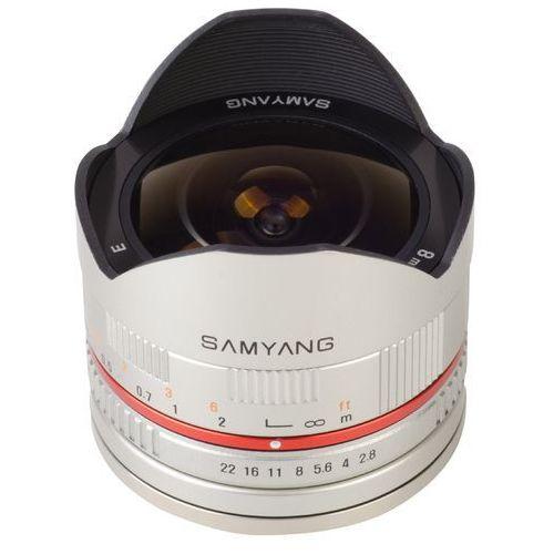 Samyang Karta kurier gratis 8 mm f2.8 fish-eye srebrny obiektyw mocowanie sony e (nex) (8809298882815)
