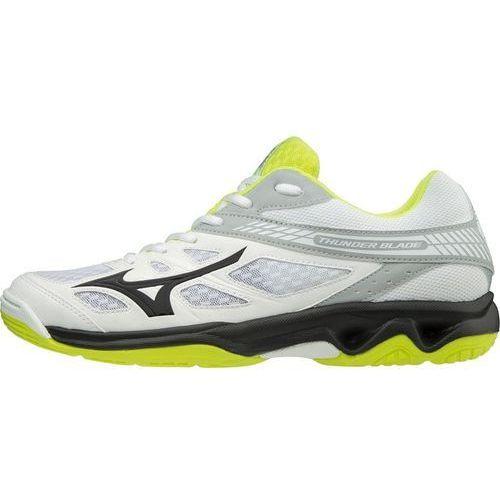 Mizuno buty halowe męskie Thunder Blade White Black Safyellow 43.0, kolor żółty
