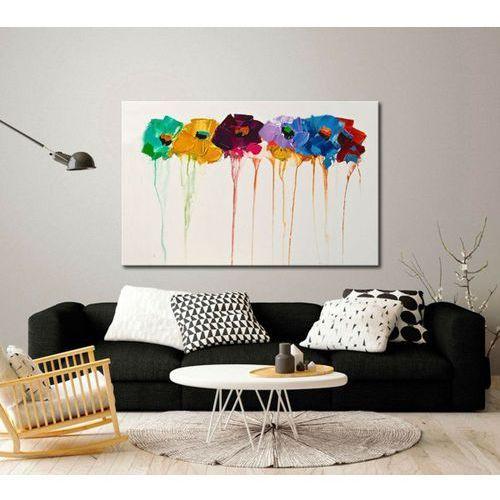 """""""fakturowane kwiaty"""" - nowoczesna abstrakcja z kwiatami na płótnie"""