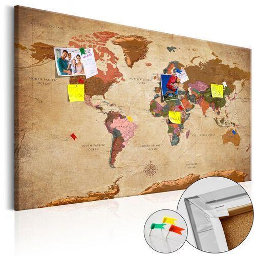 Artgeist Obraz na korku - mapa świata: brązowa elegancja [mapa korkowa]