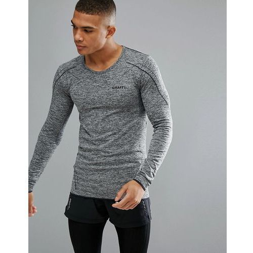 sportswear active comfort running knitted long sleeve top in grey 1903716-9999 - black marki Craft
