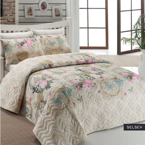 SELSEY Narzuta Lovely Pastels 200x220 cm z dwiema poszewkami na poduszkę 50x70 cm (5903025253435)