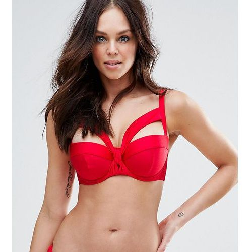 Asos  fuller bust exclusive knot front longline bikini top dd-g - red